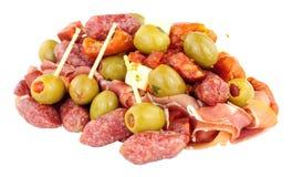 开胃小菜在白色背景隔绝的快餐选择 免版税库存图片