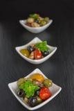 开胃小菜沙拉用蕃茄和橄榄 免版税库存照片