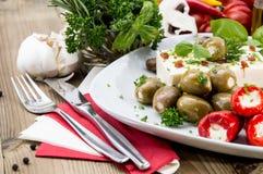 开胃小菜的不同的类型在牌照的 图库摄影