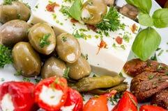 开胃小菜的不同的类型在板材的 免版税库存照片
