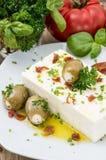 开胃小菜(希腊白软干酪)在一个小的牌照 免版税库存照片