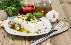 开胃小菜(希腊白软干酪)在一块小板材 免版税图库摄影