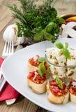 开胃小菜(Bruschetta和希脂乳) 库存照片