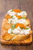 开胃小菜Crostino用鱼子酱 免版税图库摄影