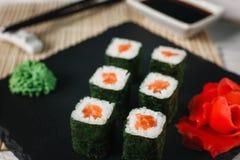 开胃新寿司卷 日本海鲜 免版税库存照片
