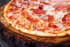 开胃新鲜的薄饼用烟肉、蒜味咸腊肠、火腿和意大利辣味香肠,分类 库存图片