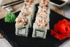 开胃日本寿司卷 健康的食物 库存图片