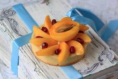 开胃果子馅饼用杏子和石榴 库存图片