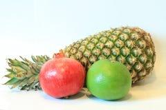 开胃果子,菠萝,石榴,柠檬,苹果,梨,猕猴桃,葡萄柚,龙眼,长孔静物画  免版税库存图片