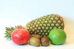 开胃果子,菠萝,石榴,柠檬,苹果,梨,猕猴桃,葡萄柚,龙眼,长孔静物画  免版税图库摄影