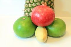 开胃果子,菠萝,石榴,柠檬,苹果,梨,猕猴桃,葡萄柚,龙眼,长孔静物画  免版税库存照片