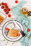 开胃果馅奶酪卷用剁碎的牛肉、葱和草本 库存图片