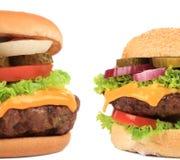 开胃汉堡包两个片断。 免版税库存照片