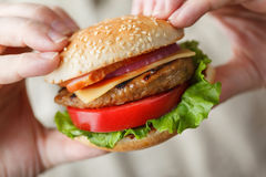 开胃汉堡在男性手上 免版税库存图片