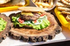 开胃汉堡用鸡肉、乳酪和新鲜蔬菜 图库摄影