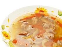 开胃汤用在白色隔绝的板材的鸡内脏杂碎 库存照片
