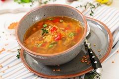 开胃汤用红色小扁豆、肉、红色辣椒粉和芬芳麝香草 图库摄影