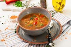 开胃汤用红色小扁豆、肉、红色辣椒粉和芬芳麝香草 库存照片