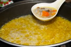 开胃汤用蘑菇在慢烹饪器材烹调了 免版税库存图片