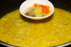 开胃汤用蘑菇在慢烹饪器材烹调了 图库摄影