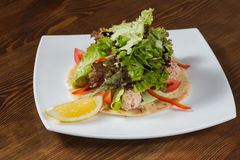 开胃沙拉用在一块白色板材的调味汁 库存图片