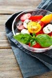 开胃沙拉用在碗的蕃茄 库存图片