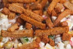 开胃沙拉用多士。 营养食物背景 库存图片