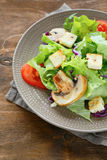 开胃沙拉用油煎方型小面包片和蘑菇 图库摄影