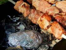 开胃油煎的猪肉烤肉串 库存照片