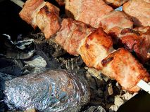 开胃油煎的猪肉烤肉串 免版税库存图片