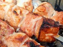 开胃油煎的猪肉烤肉串 库存图片