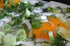 开胃炒蛋用葱和莳萝 免版税库存照片