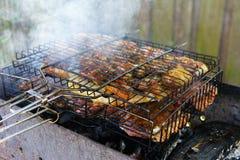 开胃烤肉串在果树的煤炭烹调了 免版税库存照片