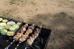 开胃烤肉和菜在老格栅 免版税库存照片