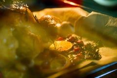 开胃烤鸡火鸡用桔子切蔓越桔和草本在烤箱 免版税图库摄影