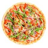 开胃热的意大利薄饼用肉、蕃茄和胡椒isol 库存图片