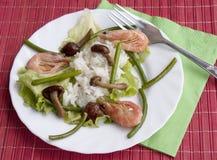 开胃煮沸的油煎的真菌米虾 库存照片