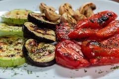 开胃煮熟的油煎的肉和菜 库存照片