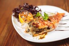 开胃煮熟的油煎的肉和菜 免版税库存图片