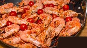 开胃煮熟的虾用在食物节日的蕃茄 图库摄影
