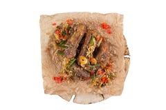 开胃猪排 在白色背景的开胃菜 免版税库存照片