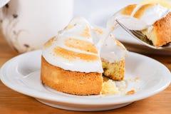 开胃甜点心 吃白色釉杯形蛋糕的过程 免版税库存照片