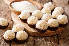 开胃糖果balls beijinhos de coco用浓缩牛奶和 库存图片