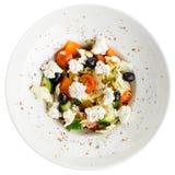 开胃素食沙拉用希腊白软干酪,蕃茄,黄瓜 免版税库存图片