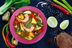 开胃绿色咖喱汤用大虾和米线,平的l 库存图片