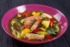 开胃绿色咖喱汤用鸡肉和大米面条,关闭 图库摄影