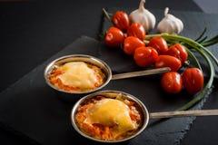 开胃肉用蘑菇,烘烤用在椰子的乳酪,在铁的两个小部分在西红柿附近作为b的一装饰 免版税图库摄影