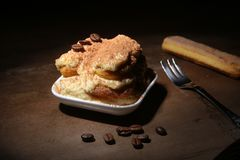 开胃自创提拉米苏蛋糕片断在板材的在关闭 库存照片