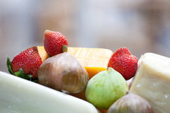 开胃草莓用乳酪 库存照片