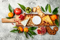 开胃菜制表与开胃小菜快餐 乳酪在灰色具体背景的品种委员会 顶视图,平的位置 图库摄影